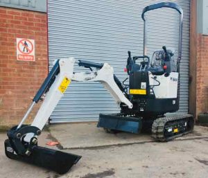 Bobcat E10 micro digger-excavator for hire in ludlow
